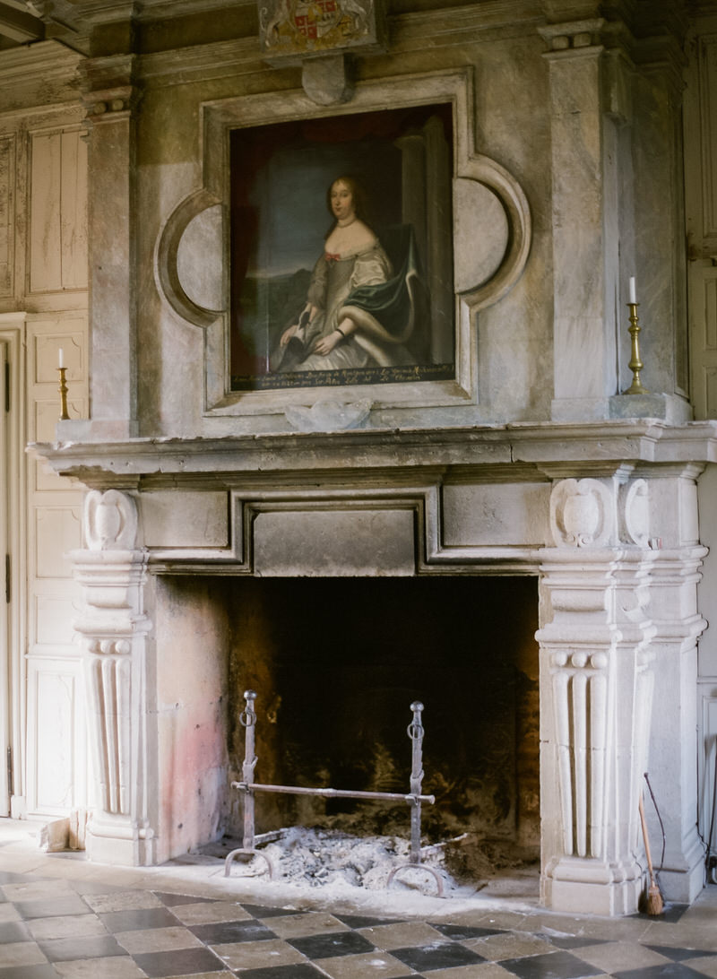Fireplace in old French Chateau