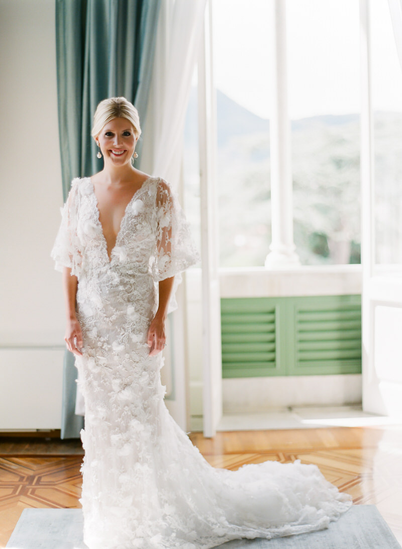 Bride In Marchesa Fashion Wedding Dress