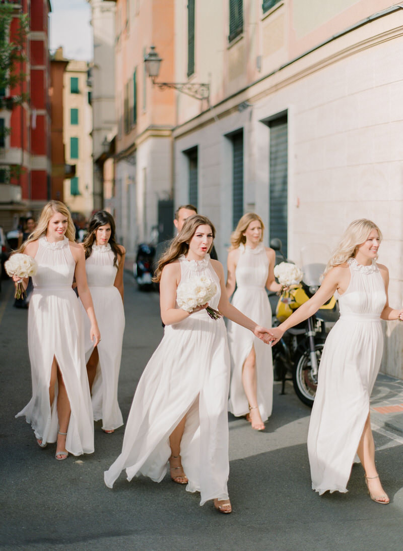 Bridesmaids in the streets of Santa Margherita Ligure
