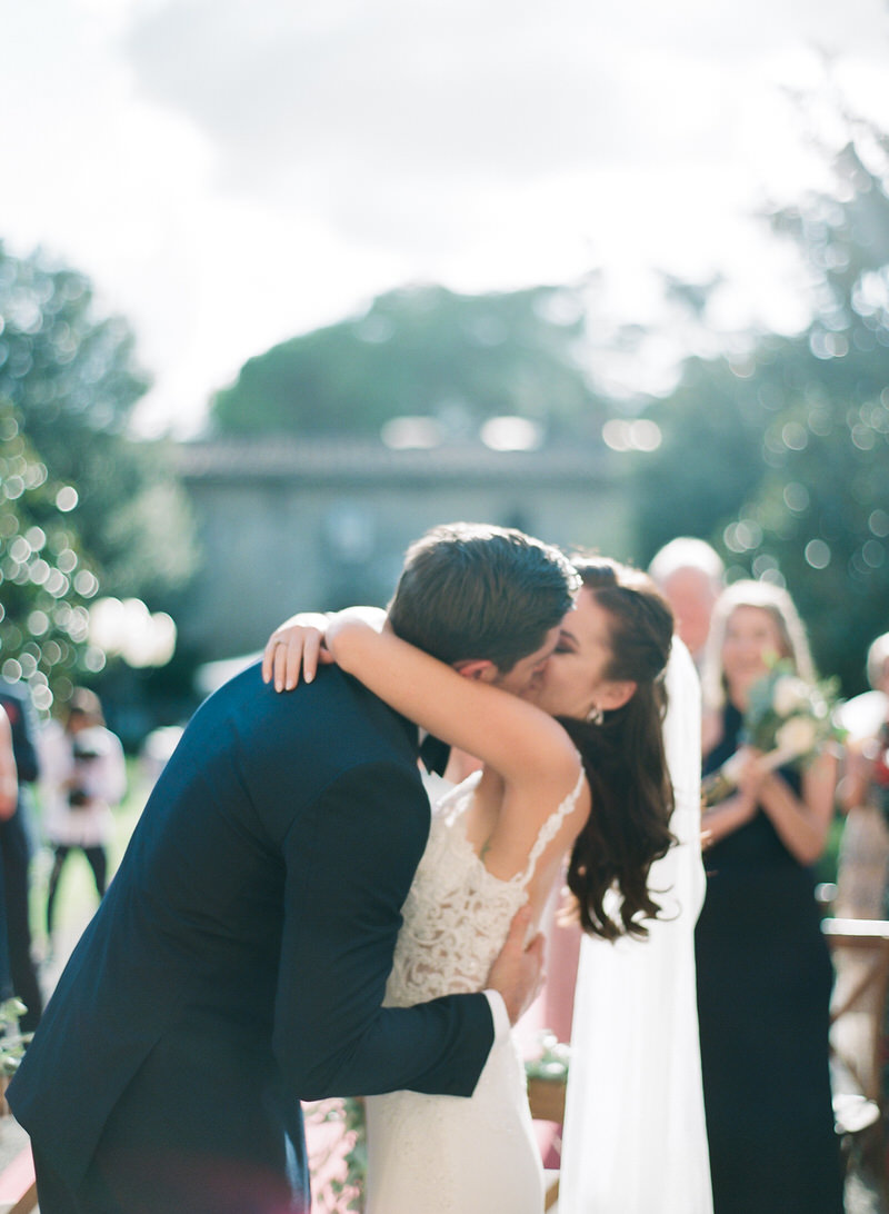 Outdoor wedding - first kiss