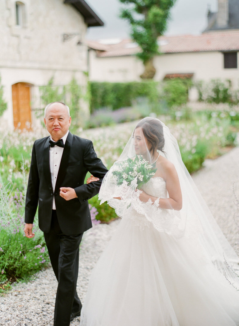Bride with Father before ceremony