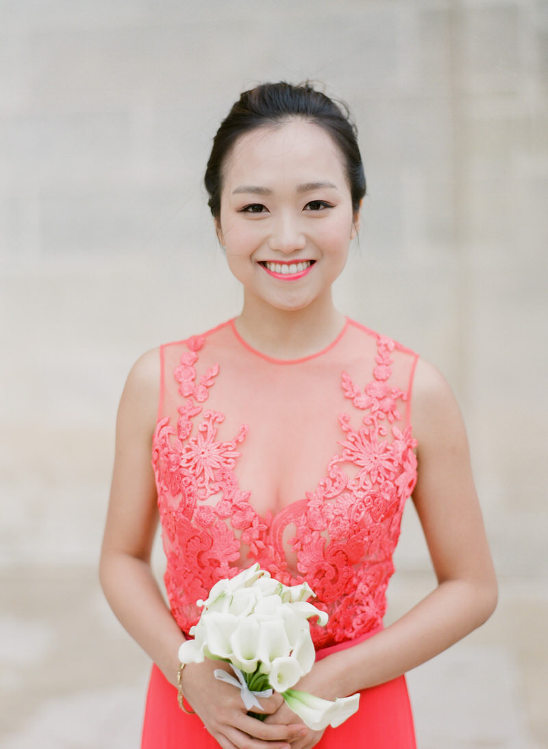 Bridesmaid in red dress