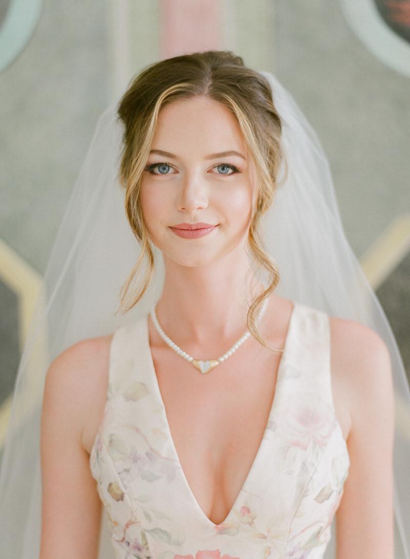 Beautiful Bride in Floral Wedding Dress