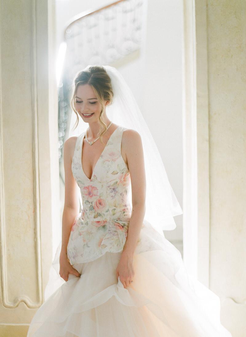 Bride wearing Lazaro's wedding dress