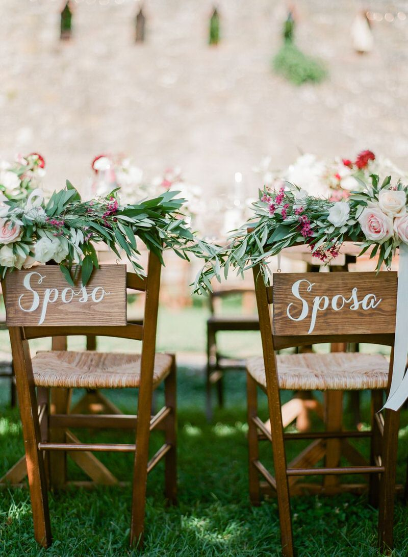 Chair Decor Tuscany Wedding
