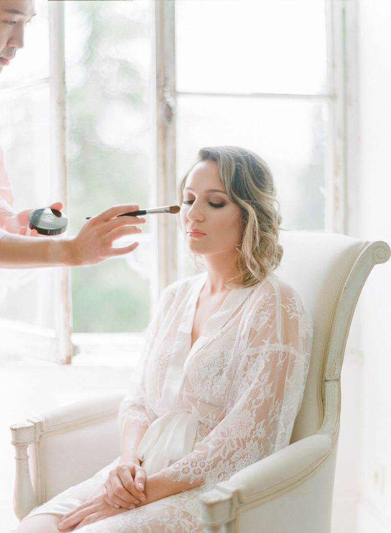 Bride getting ready in french chateau