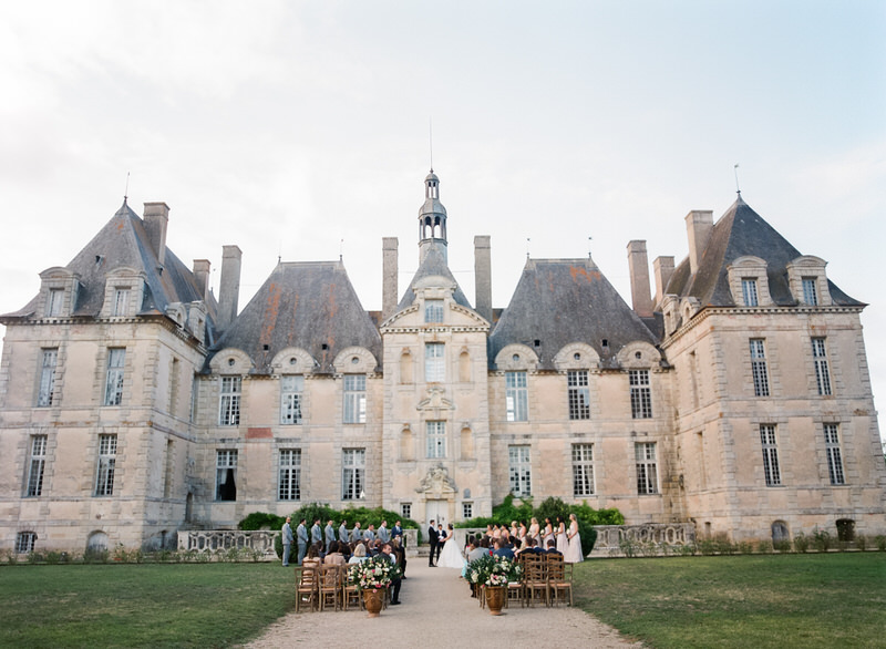 Outdoor ceremony in front of Chateau in France