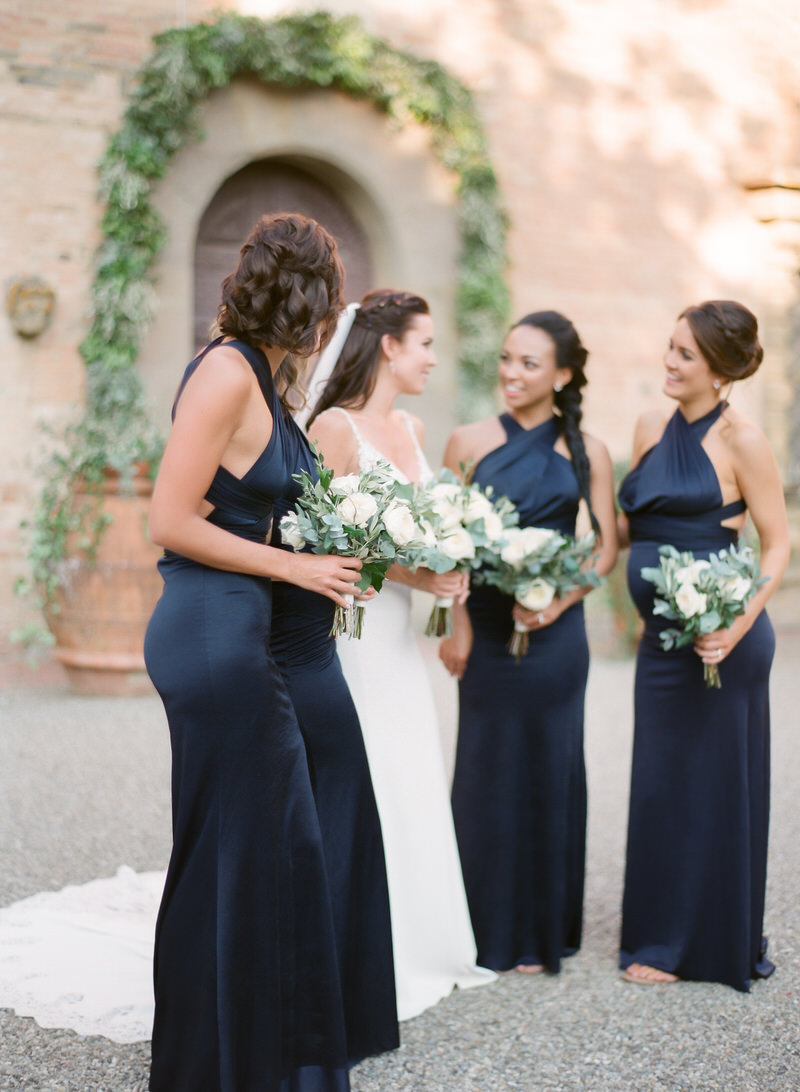 Bridesmaid's blue navy dresses