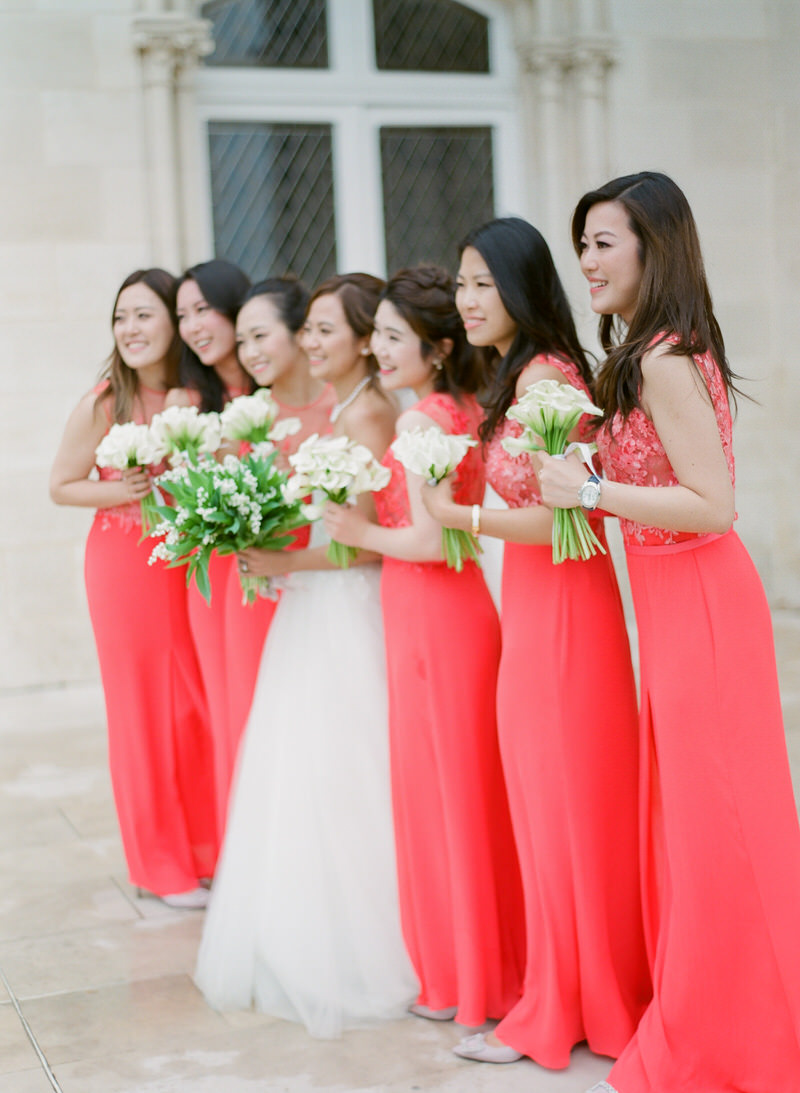 Bridesmaids' red dresses