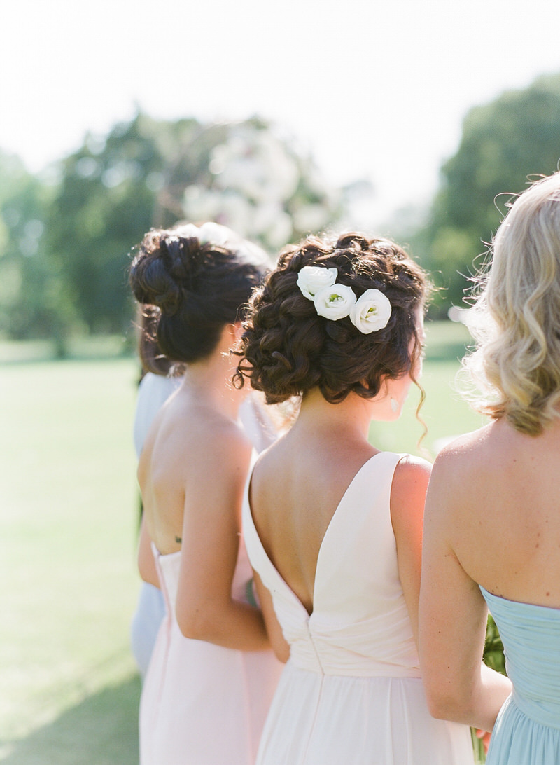 Bridesmaids pastel dresses