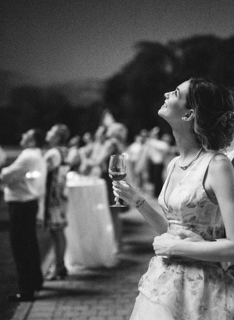 Bride looking at a firework