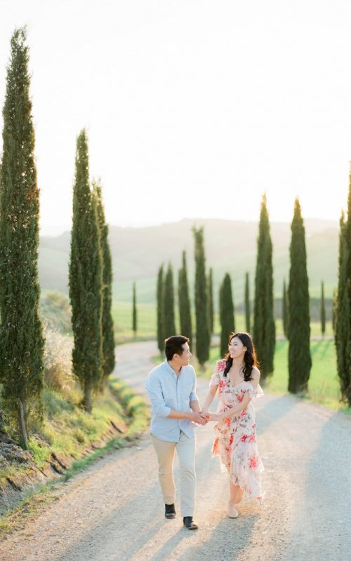 Engagement Shoot at the most beautiful cypress trees road in Tuscany