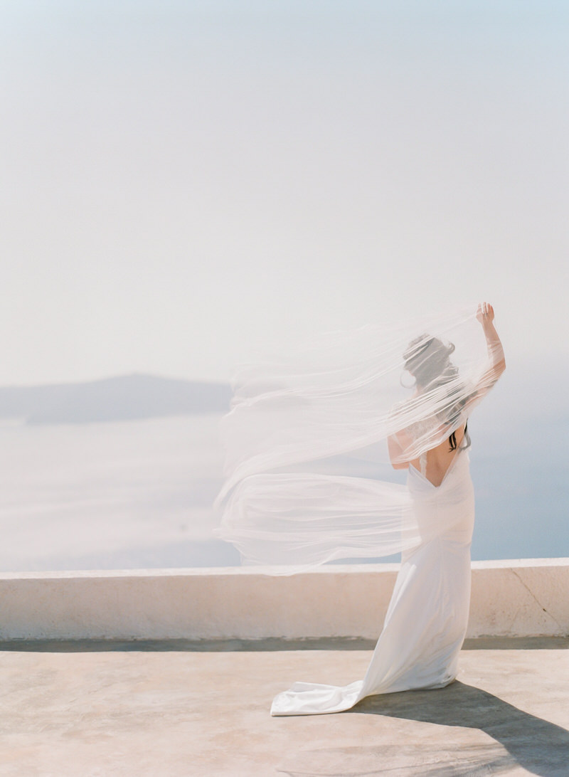 Dreamy Portrait of the bride in Santorini