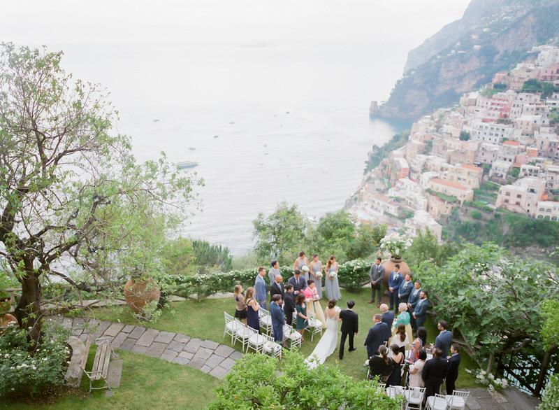 Ceremony at Villa San Giacomo with stunning view