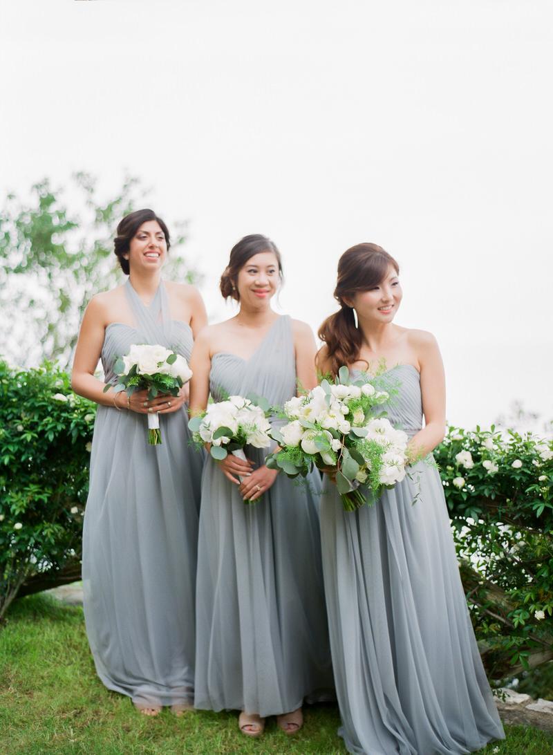 Bridesmaids grey dresses