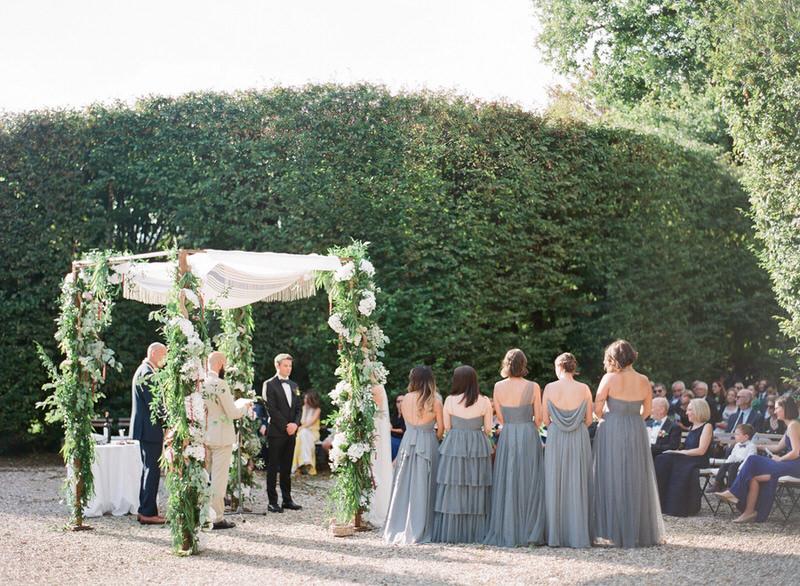 Outdoor ceremony at villa arconati in Italy