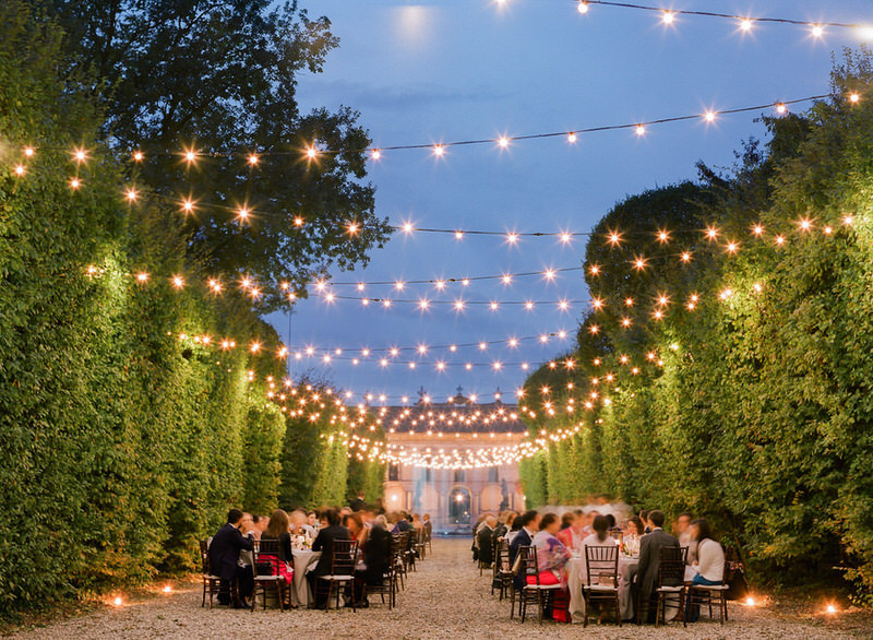 Outdoor reception at villa Arconati with White Emotions