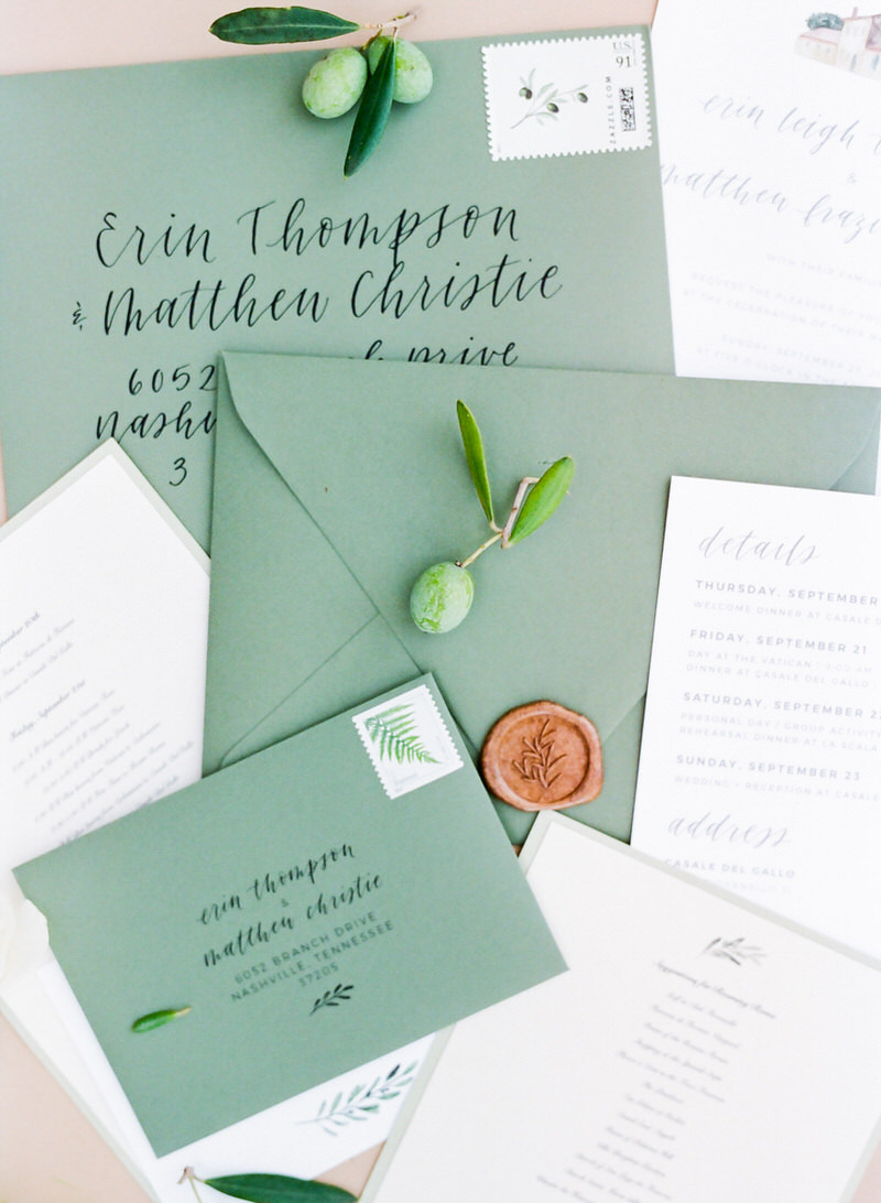 Wedding Stationary olive green