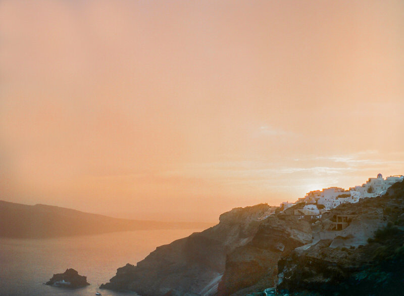 Sunset in Santorini on film
