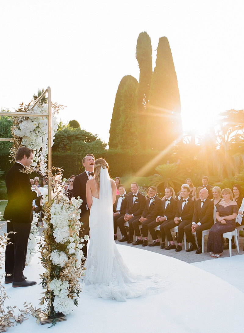 Ceremony at sunset at Outdoor ceremony at Villa Ephrussi de Rothschild